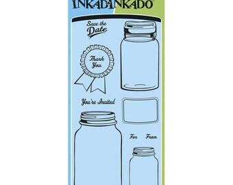 Inkadinkado Clear Acrylic Stamp Set - MASON JARS JAR Clear Stamp Set - CS044