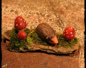 Tiny Faery Hedgehog and Mushrooms, hedgehog,mushrooms, miniature scenes, woodland animals
