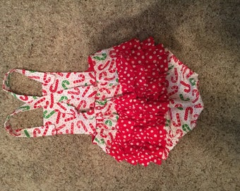 Candycane/polkadot Christams Romper 12-18 Months