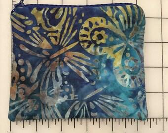 Zippered pouch - blue batik butterfly