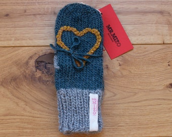 Hand Knit Wool Mittens Seascape Hand Knit Gloves Soft Women Accessories Mustard Heart