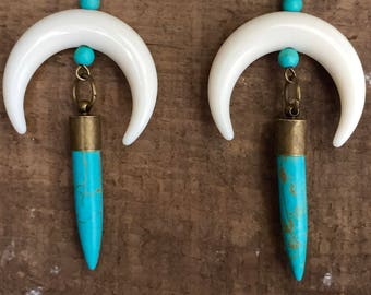 Crescent Moon Earrings, Bone Earrings, Turquoise Earrings, Dangle Earrings, Turquoise Jewelry, Moon Earrings, Boho, Gifts for Her, Horn