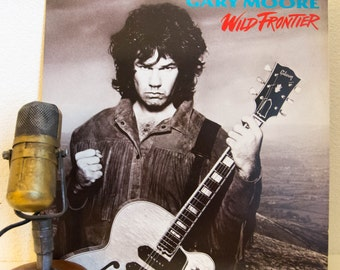 "Gary Moore (ex-Thin Lizzy) Vinyl Record Album LPs 1980s Irish Celtic Themed Arena Rock and Roll Guitar Hero ""Wild Frontier"" (1987 Virgin)"