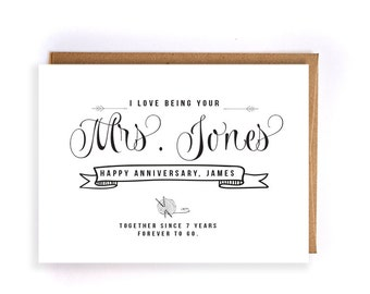 Custom name 7th anniversary cards for him, wool anniversary card, cute handmade greeting cards for husband, anniversary gift for him GC54