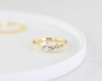 Delicate Cluster Ring - Sterling Silver 925, Gold, Rose Gold, Dainty, Zirconia, Unique Stackable Ring, Mothers Day Gift, 14K Gold Vermeil