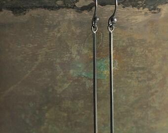 Oxidized Sterling Silver Snake Chain Modern Simple Earrings