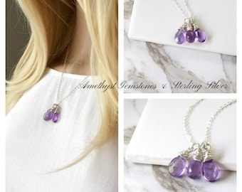 Triple Amethyst Gemstones and Sterling Silver Necklace. Wedding, Amethyst, Gemstone Jewelry