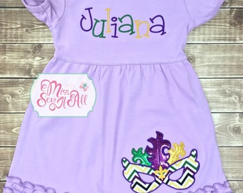 Girls Mardi Gras Dress, Custom Girls Mardi Gras Dress, Mardi Gras Mask Dress