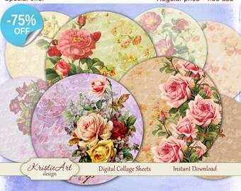 75 % de réduction vente Chic Roses - feuille de Collage numérique - numérique cartes C102 imprimable téléchargement Tags Roses Digital rond Image carte Atc fleur