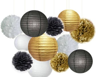 Set of 12 Mixed Gold Black White Paper Lantern Tissue Pom Poms Wedding Birthday Baby Shower Graduation Party Decorations