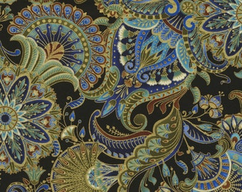 Fabric Alexandria Black Floral Fabric by Chong-A Hwang for Timeless Treasures