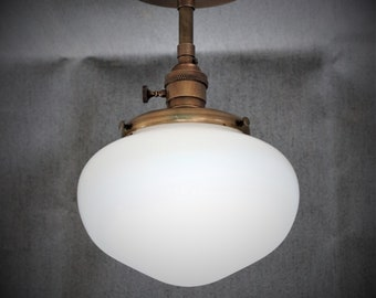 Semi Flush Light Fixture w/ Acorn School House Milk Glass Globe and Down Rod - Antique Reproduction Fixtures - Hand Finished Brass