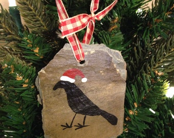 Primitive Crow Santa Hat Ornament