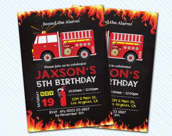 Digital Printable Fire Truck Birthday Invitation