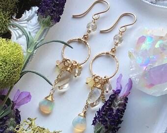 Opal and Oregon Sunstone Earrings - 14KT GF Frames with Opulent Gemstone Clusters