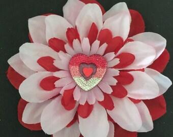 Valentines day flower clip , heart