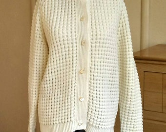 L 60s popcorn cardigan, 60s sweater, vintage ivory cardigan, off-white sweater, womens large