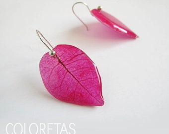 Bougainvillea hook earrings - Pressed flower - Real botanical jewelry - Dried flower