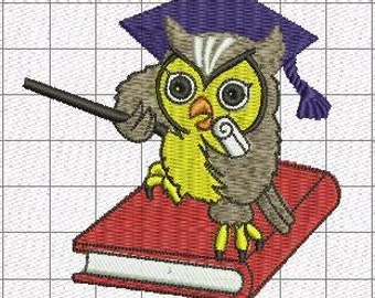 Owl  and book - Machine Embroidery Design