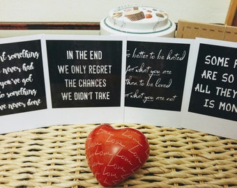 Chalkboard prints in polaroid format, quotes about life, set of 4 prints, motivational prints, motivational quotes about life, fake polaroid