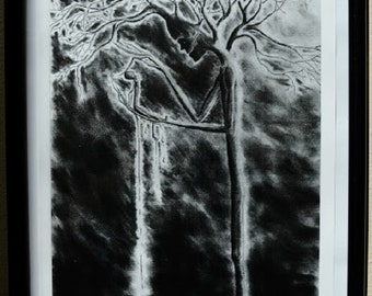 "Original Art Print,""Of Trees and Men"",Sinister,Tree People,Gothic Art,Black and White Art Prints,Creepy Charcoal Drawings,Art Prints"