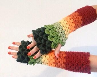 READY TO SHIP - Dragon Scale Fingerless Gloves - green, yellow, orange, red, wrist hand arm warmers women crochet game of thrones khaleesi