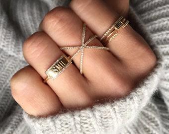 pave diamond cage ring, diamond statement ring