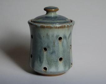 Garlic keeper glazed in slate blue