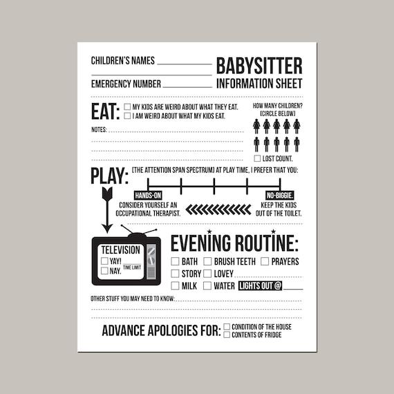 worksheet: Babysitting Worksheets Free Printable Babysitter ...
