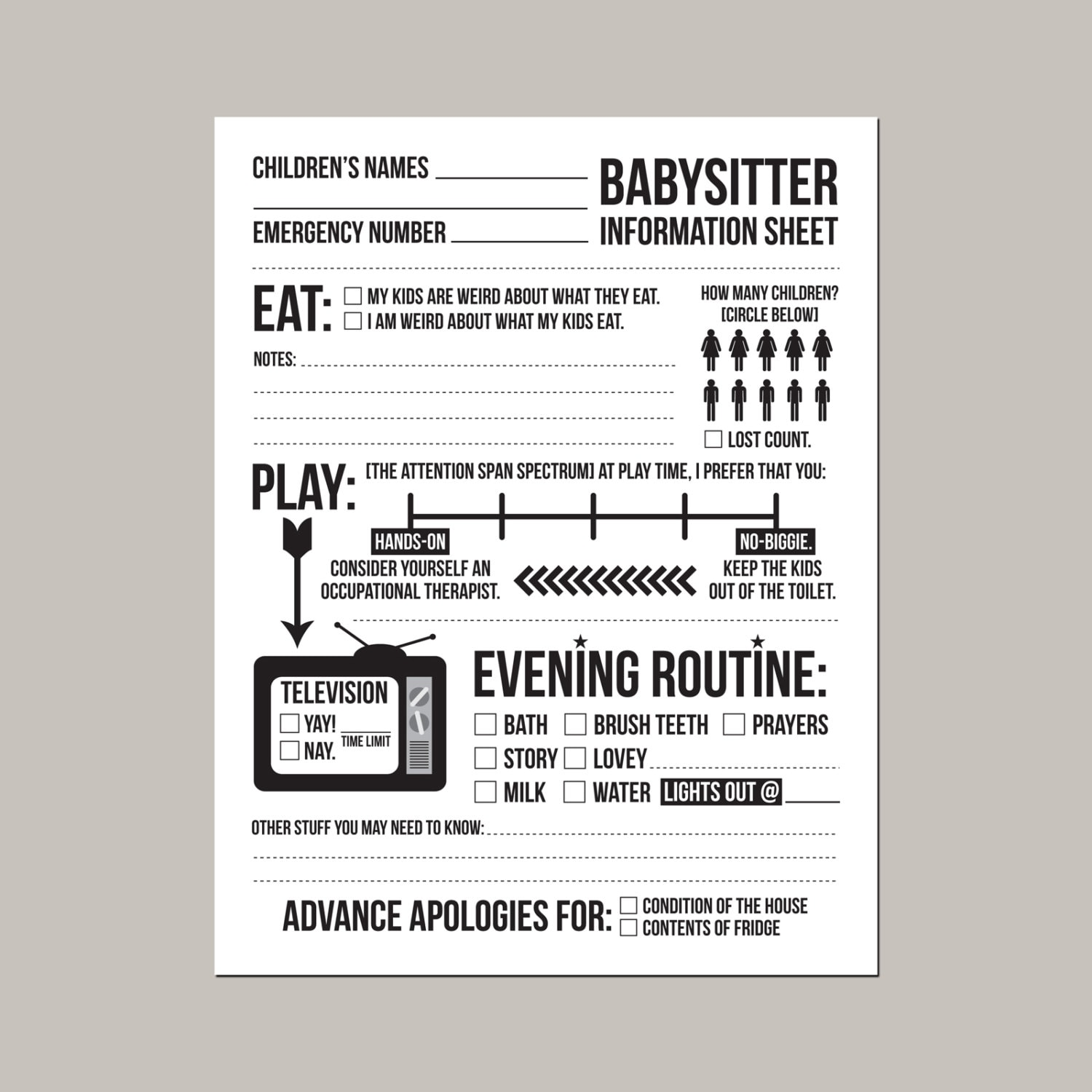 instant downloadable babysitter information sheet for