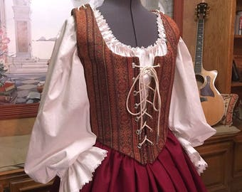 Renaissance Wench or Maiden Reversible Bodice and Skirt, Burgundy Tapestry Dress, Cusom sized for You!