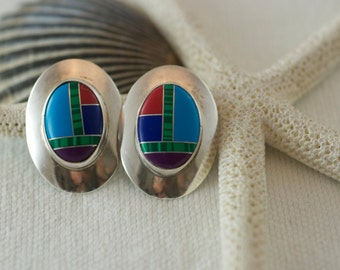 Vintage Native American Southwestern Sterling Silver Mixed Gemstone Inlaid Post Style Pierced Earrings  .....5165
