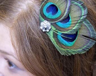 SYBIL Peacock Feather Hair Clip, Feather Fascinator