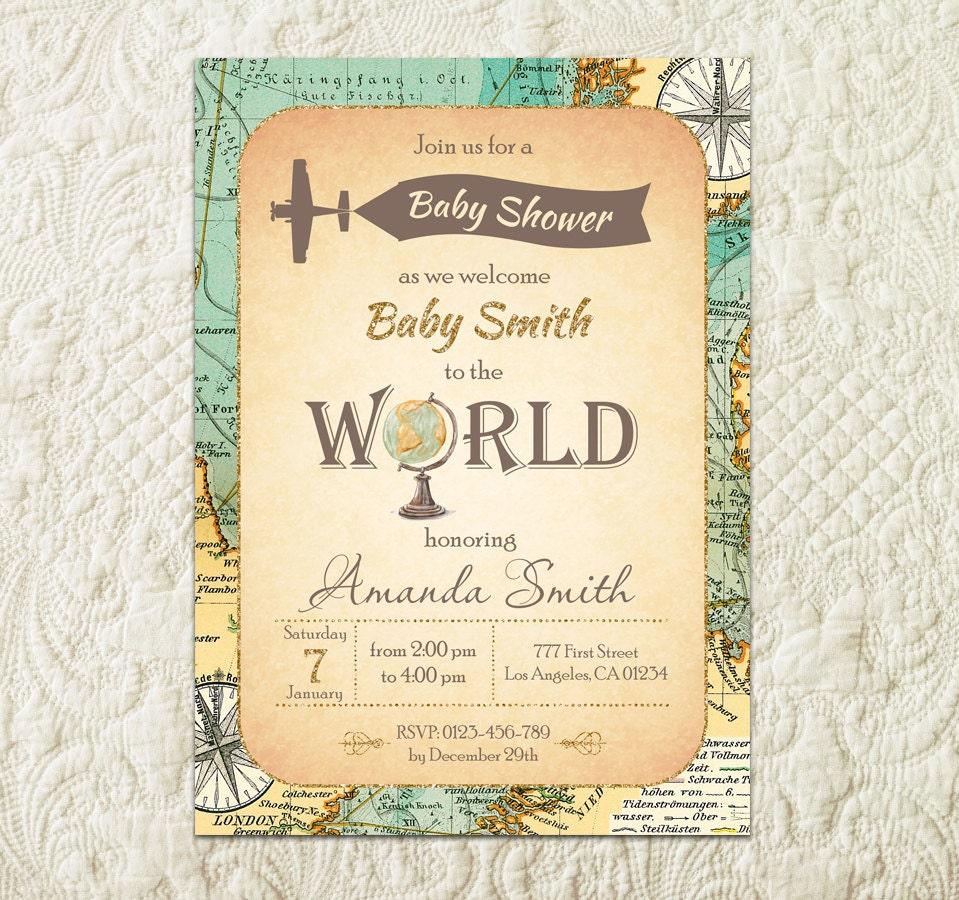 World Baby Shower Invitation Travel Baby Shower Invitation