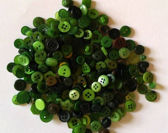 200 Small Dark Hunter Green Button Mixed Colored Buttons- Sewing  Buttons -#SDSP-00025