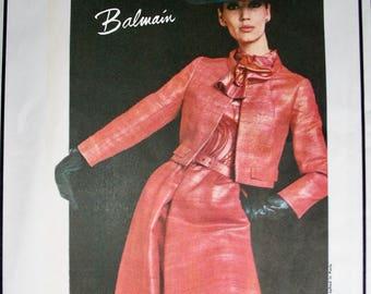 Pierre Balmain * VOGUE Paris Original Pattern 1529 *  GLAM Two Piece Suit and Blouse  - FF with Label - Size 18, bust 38