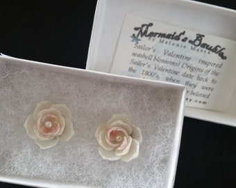 PINK & Pearl Shellflower Post Earrings