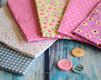 Fat Quarters, Fabric Bundle, Cotton, Polka Dots, Ditsy Dots, Floral, Pink, Yellow, Coordinated, Matching, Crafting, Patchwork, Quilting,