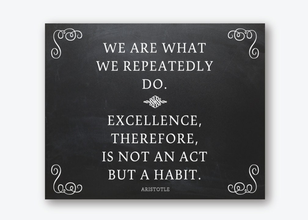 Aristotle Quotes On Perfection Quotesgram: Inspirational Art Print Quote Aristotle Excellence Not An Act