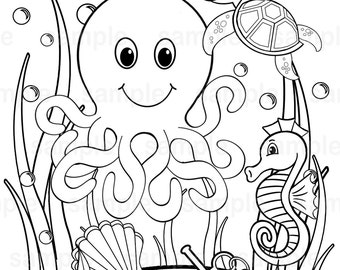 Octopus coloring | Etsy
