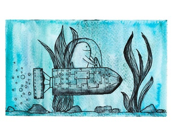Steampunk Submarine Whale Print, Cute Nursery Decor, Kids Art, Watercolor Illustration Poster, 6x10, 8.5x11