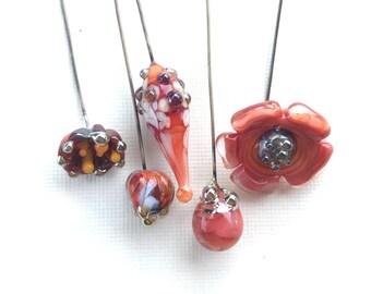 Lampwork Orphan Headpins, OOAK Lampwork Orphans, Coral Pink Orange Lampwork Headpins, Artisan Headpins, 5 Pcs, Dry Gulch, Poppy Epiphany