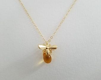 Bee Necklace - Honey Bee Necklace, Bee Keeper Necklace,  Bee Jewelry, Honey Drop Necklace