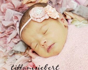 Baby Flower Headband - Baby Headband - Newborn Headband - Toddler Headband - Coral Peach Flower Headband