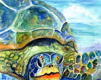 sea turtle print 5x7 kauai art hawaii art sea turtle prints hawaiian honu sea turtle gifts turtle decor nautical nursery kids room decor