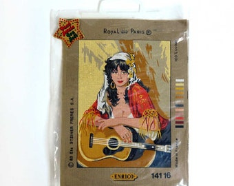 Vintage Needlepoint Kit, Large Unused Royal Paris Cross Stitch Canvas and Yarn. Enrico Gypsy Girl Guitar 141 16 New Old Stock NOS tapestry