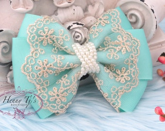 NEW: Ella Grace Collection - Beautiful AQUA Seafoam Green Ribbon and Lace Hair Bow Applique. Bow Knot Hair accessories. Fabric pearl bow.