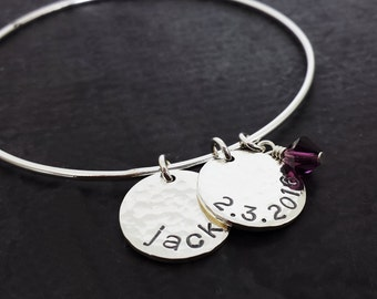 Personalized Bangle Bracelet - Hand Stamped Charm Bracelet - Sterling Silver Bangle - Mothers Bracelet