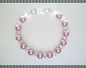 pink bracelet, swarovski bracelet, crystal bracelet, swarovski, pink pearls