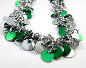 Chainmaille Jewellery, Shaggy Tags, Shaggy Charms, Green and Silver, Necklace